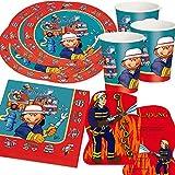 Carpeta - Juego de platos, vasos y servilletas de papel para fiesta (37 piezas, confeti XXL, desechables), dise�o de bomberos