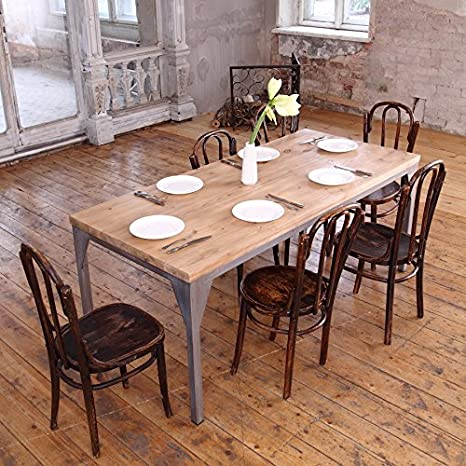 Table à manger industriel contemporain, Daniel (Dark Brown)-Silver (mild steel), 6 seater W150xD75xH75cm