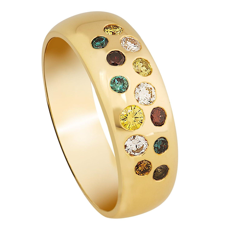 Bella Donna Damen-Ring 333 Gelbgold 13 Brillanten bunt behandelt Piqué1-2 als Geschenk