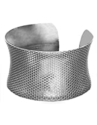 DollsofIndia White Carved Metal Cuff Bracelet - Metal - White