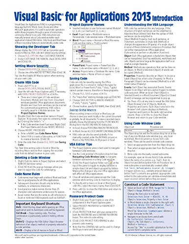 Visual Basic for Applications (VBA) 2013 Quick Reference Guide: Introduction (Cheat Sheet of Instructions, Tips & Examples - Laminated) PDF