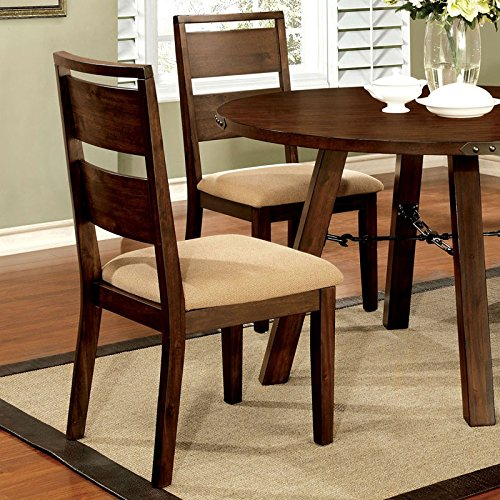 country style vintage dark oak finish 5 piece round dining table set