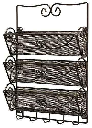 Decobros wall mount 3 tier letter rack organizer w key holder bronze new ebay - Key and letter rack ...