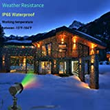 Laser Lights Christmas Holloween, Starry Lights Red and Green, Outdoor, Garden, Halloween Christmas Holiday Party Decoration & Waterproof 5M Cable with RF Remote (Color: Multicolor)