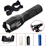 WishDeal LED Flashlight 3000 Lumens T6 Waterproof  Flashlight LED Torch Camping Light With 18650 Battery + Charger (Color: B, Tamaño: Medium)