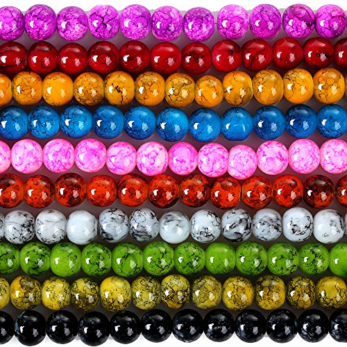 RUBYCA 4mm 2 Strands Czech Glass Round Beads Mix Painted Colored String for Jewelry Making DIY (The Glass Furnace compare prices)