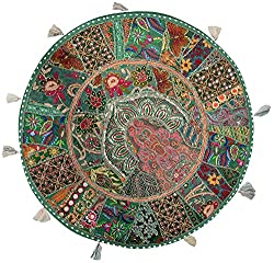 Handmade Khambadia round Cushion cover vintage gaddi throw boho bohemian pillow embroidered pillow couch cover floor cushion cu2207