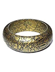 Designer Antique Gold Leather Bangle