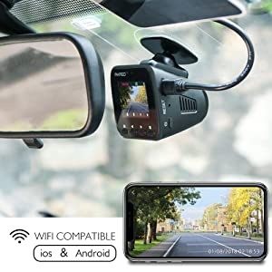 Dash Cam Dashboard Recording Camera - AKASO V1 Car Recorder, 1296P FHD, GPS, G-Sensor, WiFi with Phone APP, Night Vision, Loop Record, Parking Monitor, 170°Wide Angle, with 16GB Card (Color: V1)