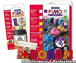 Staedtler 8023 02 Fimo soft 24er Materialpackung + Glanzlack Set und exklusiver Bonus-Beigabe
