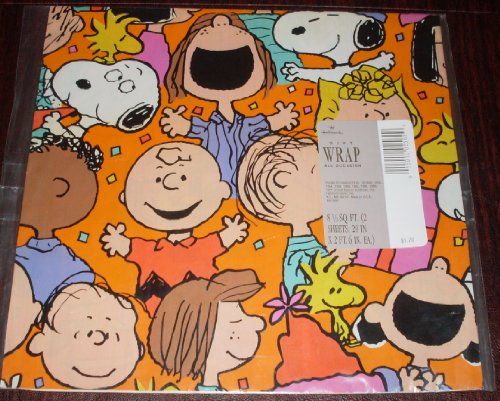 1980's Hallmark Peanuts Gang Snoopy, Pig Pen Pkg Gift Wrap Wrapping Paper - Birthday, Any Occasion