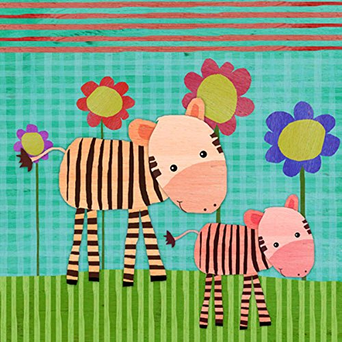 Green Leaf Art Zebras on Color Canvas Art