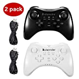 Wii U Pro Controller- Kulannder Wireless Rechargeable Bluetooth Dual Analog Controller Gamepad for Nintendo Wii U with USB Charging Cable (Black+White)2Pack,Perfect Gift for Kids (Color: Black+White)