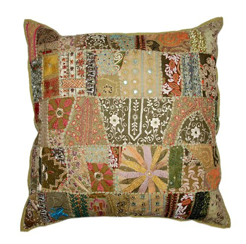 Marvellous Home Decor Art Rajrang Embroidery Work & Patch Work Cotton Brown Color Cushion Cover Throw Pillow Cover Comforter Sets India (Size 24