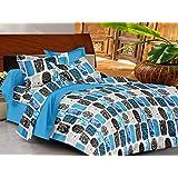 Casa Basics - Ezy Collection Blue & Black Box Cotton Double Bedsheet With 2 Pillow Covers-144TC