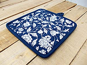 "Pot Holder Indigo Floral Print Kalamkari Indian Ethnic Dark Blue Printed Kitchen Accessory 100% Cotton Size 8""x8"""