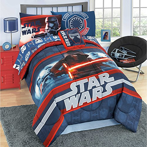 NEW! Modern Star Wars Twin Comforter, Sheets, Pillow Case BONUS Square Pillow Bedding Set and Exclusive Linens N Beyond LED Simple Touch Key Chain