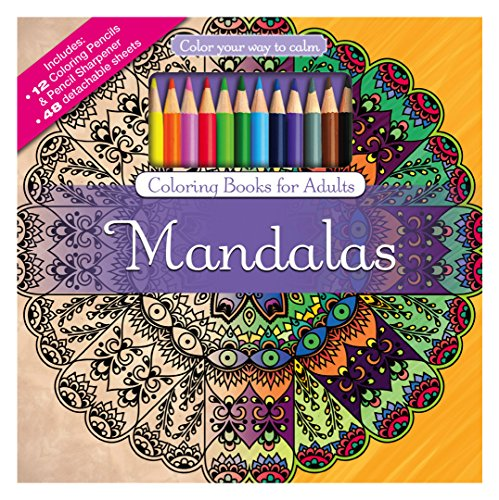 Mandalas Adult Coloring Book Set With Colored Pencils And Pencil Sharpener Included: Color Your Way To Calm (Color with Music)