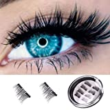 Magnetic Eyelashes 3D Premium Quality False Eyelashes,Full Eye Fake Eyelashes Natural Look 100% Handmade Black Nature Fluffy Long Soft Reusable -8 Pcs (Color: 8PCS)