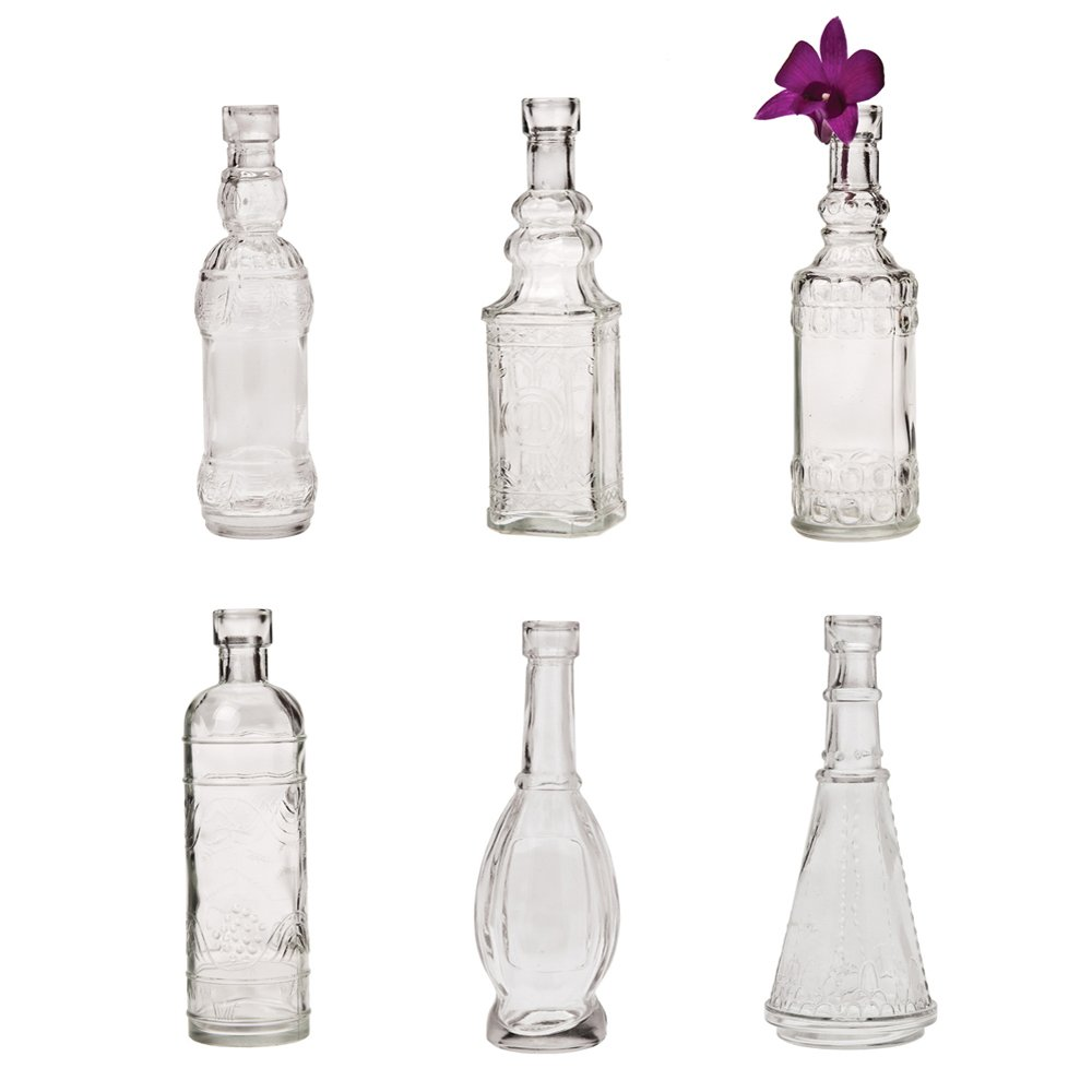 Luna Bazaar Small Vintage Glass Bottle Set (7-Inch, Clear, Set of 6) - Flower Bud Vases Bulk - For Home Decor and Wedding Centerpieces 0