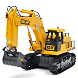 Redvive Top Excavator 6-Channel RC Tractor Truck Digger Car Remote Control 2.4G Buggy Toy (Color: Yellow, Tamaño: about 33 x 13 x 26.5cm)