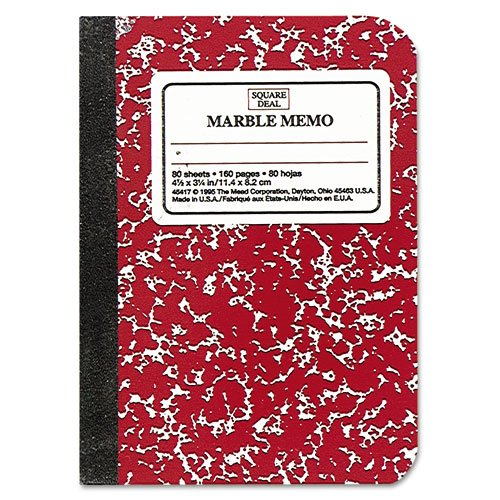 Mead Products - Mead - Square Deal Colored Memo Book, 3/14 x 4 1/2, Assorted - Sold As 1 Each - Mini composition. - Colored marbled cover. - Glued and taped binding.