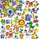 Jungle Animal Foam Stickers 12 Assorted Designs, Kid's Craft Activities, Embellishments for Decorating, Scapbooking & Card Making (Pack of 96)