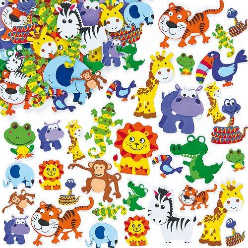 Lot de 96 Autocollants Animaux de la Jungle en Mousse pour enfants