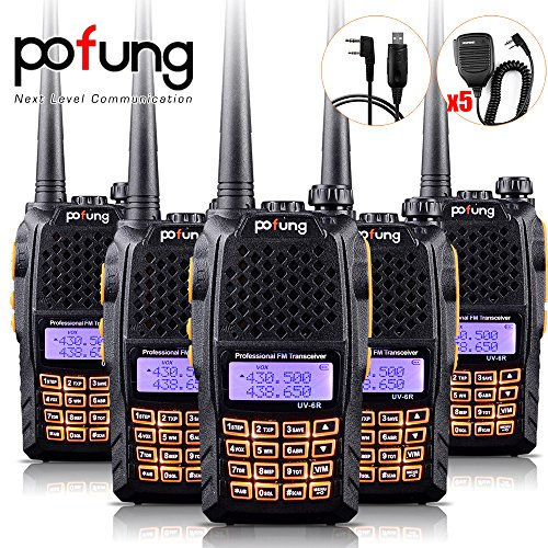 Baofeng Pofung 5PCS UV-6R UHF/VHF Dual-Band Dual Display 136-174/400-520MHz High Power 5W/1W Two-Way radio Walkie Talkie Transceiver with 5PCS BF-S112 Speaker+Programming Cable (Baofeng Head compare prices)