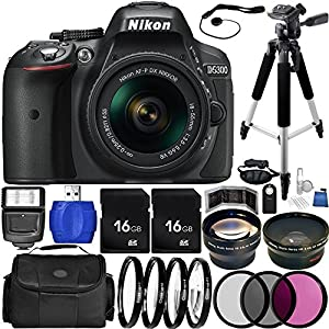 Nikon D5300 DSLR Camera (Black) Bundle with DX NIKKOR 18-55mm f/3.5-5.6G VR II Lens, Carrying Case and Accessory Kit (29 Items)