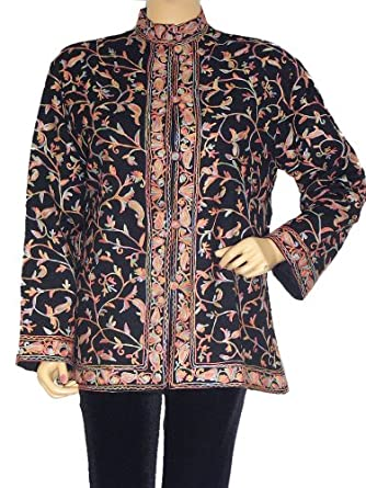Hand Embroidered Long Jacket Cashmere Coat Party Evening Wear Fashion Clothing L