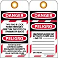 """NMC SPLOTAG1-25 """"DANGER"""" Bilingual Lockout Tag, Unrippable Vinyl, 3"""" Length, 6"""" Height, Black/Red on White (Pack of 25)"""