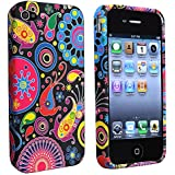 eForCity® TPU Rubber Skin Case compatible with Apple® iPhone® 4 / 4S, Black / Colorful Fish and Circles