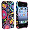 eForCity TPU Rubber Skin Case compatible with Apple� iPhone� 4 / 4S, Black / Colorful Fish and Circles