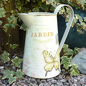 FRENCH METAL JUG PITCHER VINTAGE BUTTERFLY SHABBY CHIC JARDIN WEDDING TABLE CREAM ENAMEL