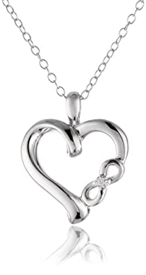 "Sterling Silver and Diamond ""Infinite Love"" Heart Pendant Necklace (0.01 cttw, I-J Color, I2 Clarity), 18"""
