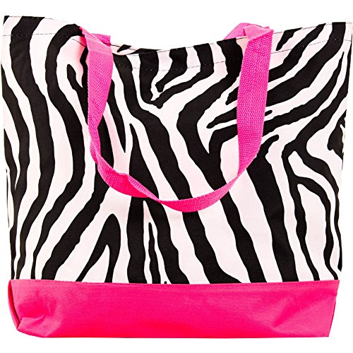 SLM Large Printed Shopper Tote Bag-Zebra - Velcro Closure - Six Cool Designs