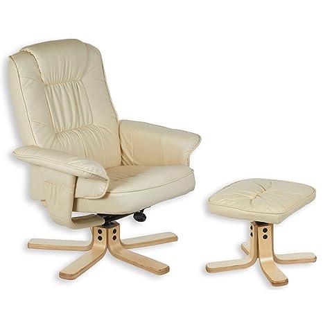 Relaxsessel mit Hocker CHARLY, Fernsehsessel mit Ottomane, creme weiß / beige