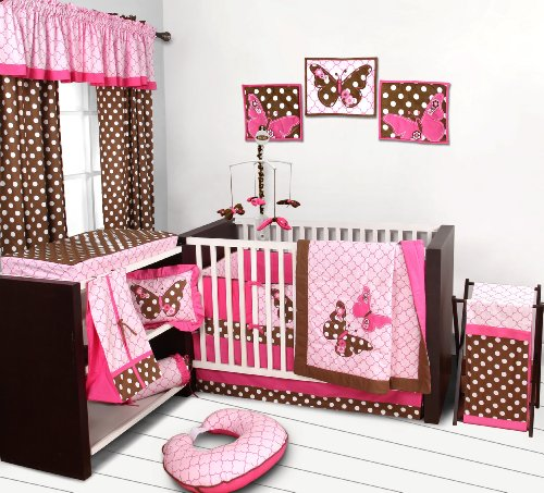 Butterflies pink/chocolate 10 pc Crib Set