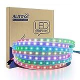 ALITOVE WS2812B Individually Addressable LED Strip Light 5050 RGB 16.4ft 300 LED Pixel Flexible Lamp Tube Waterproof IP67 Black PCB DC 5V (Color: 300 LEDs Black PCB Waterproof IP67, Tamaño: Black FPCB Waterproof IP67)