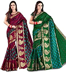 Combo Offer Indian Unique Fashion New Bollywood Best Women's Traditional Art Banarasi Silk Saree (Pack of 2, Multicolor)
