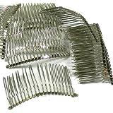"Rockin Beads Brand, 48 Steel/nickel Tone Metal Hair Comb Beading Hair Clips 3-1/8""x1-1/2"""