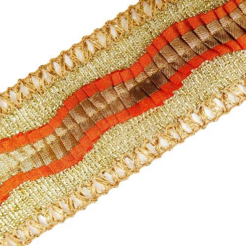 Wide Metallic Ribbon Trim Braid Style Orange Lace Sewing Craft Dress Accessory 3 Yd