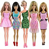 Toy - E-TING 5pcs Fashion Mini Dress For Barbie Doll Handmade Short Party Gown Clothes