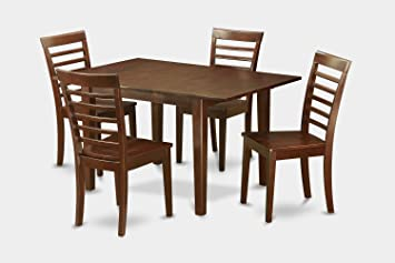 East West Furniture PSML5-MAH-W 5-Piece Kitchen Nook Dining Table Set, Mahogany Finish