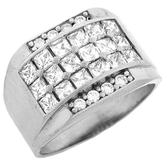 14ct White Gold CZ Cluster Hip Hop Bling Large Mens Ring