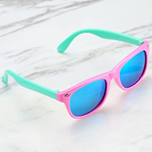 988897b531 Pro Acme TPEE Rubber Flexible Kids Polarized Sunglasses for Baby and Children  Age 3-10 (Pink Frame Blue ...