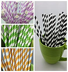 5 Stripes Paper Straws - Party DIY, Mason Jars, Baby Shower, Wedding 125 straws