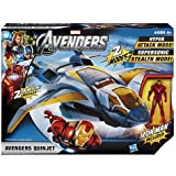 Marvel Avengers Quinjet Vehicle with a posable Iron Man figure.