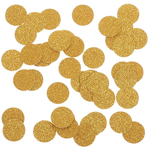 Ling's moment Confetti Circles for Wedding party, Table Confetti. Princess Party Decorations, Gold Glitter Paper Confetti, 100pcs of 1